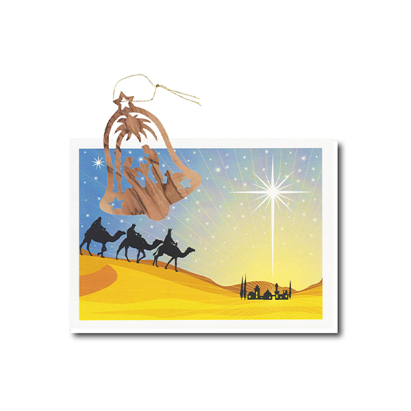 Christmas Card Olive Wood Bell