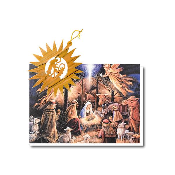 Christmas Card Olive Wood Star