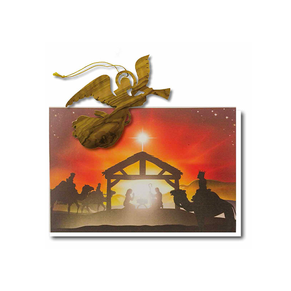 Christmas Card Olive Wood Angel