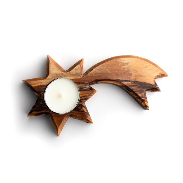Olive Wood Bethlehem Star and Candle