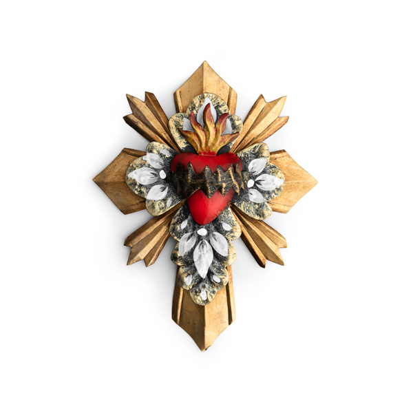 Hand Painted Sacred Heart Cross
