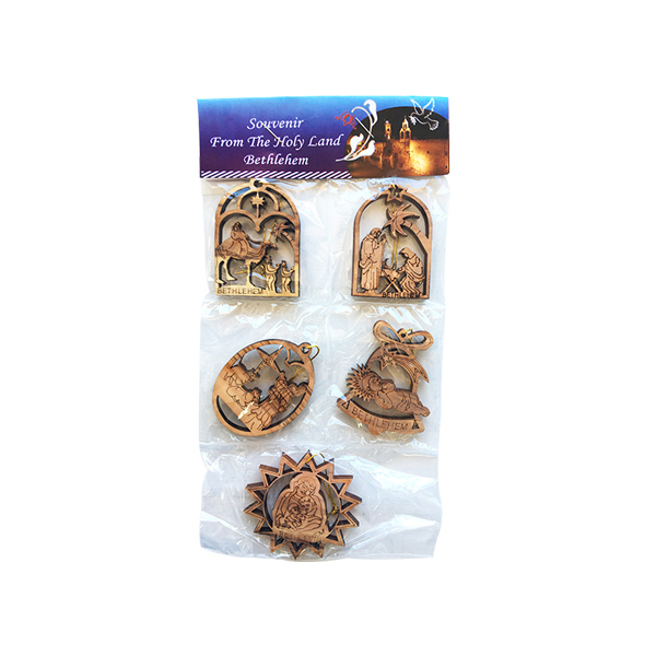 Olive Wood Pack of 5 Christmas Ornaments
