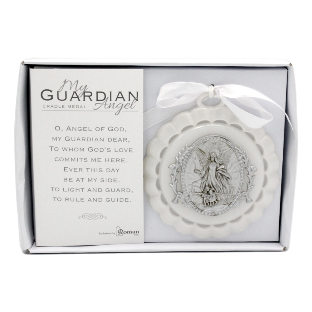 Guardian Angel Cradle Medal - White