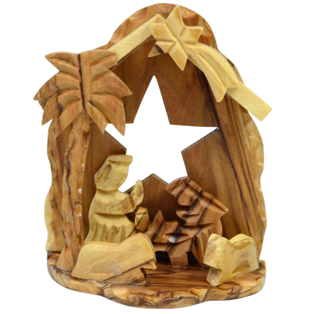 Olive Wood Nativity Crib