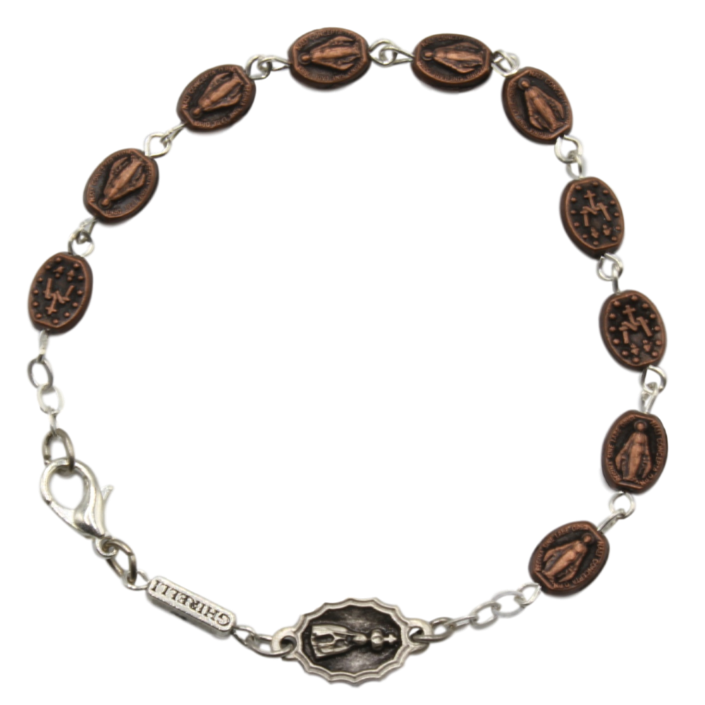 Ghirelli Miraculous Medal Rosary Bracelet - Copper