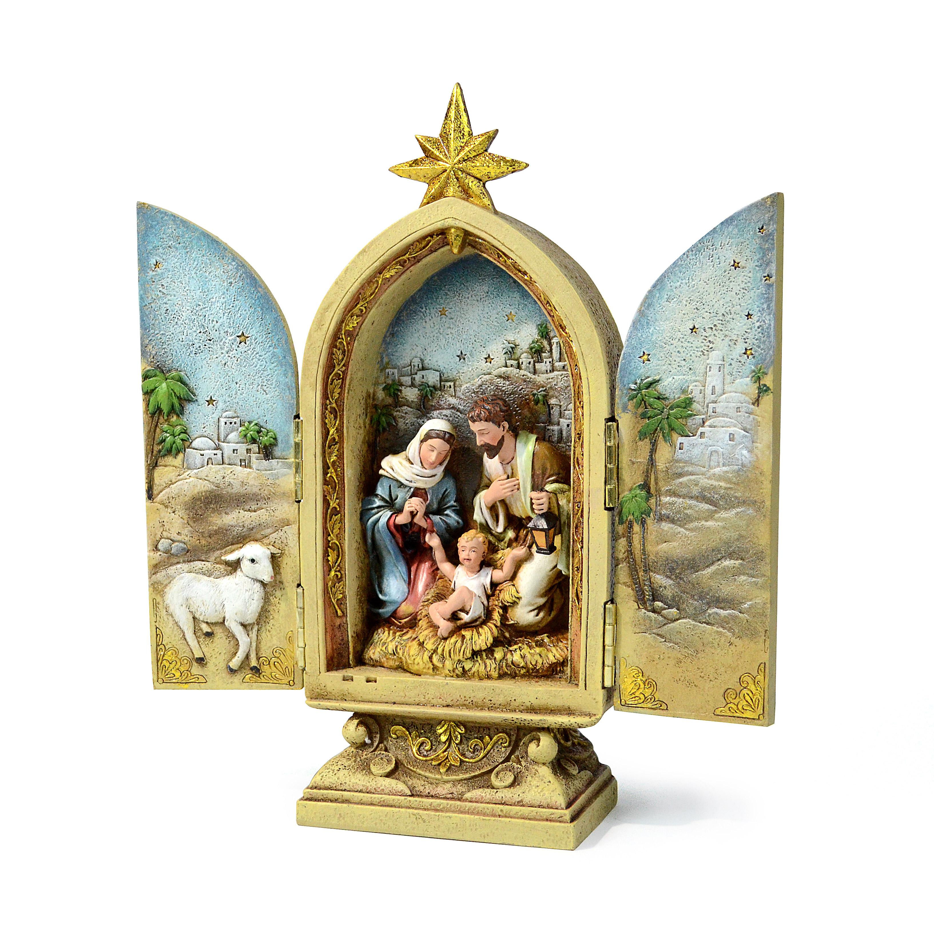 Holy Family Nativity Triptych Tabletop Décor