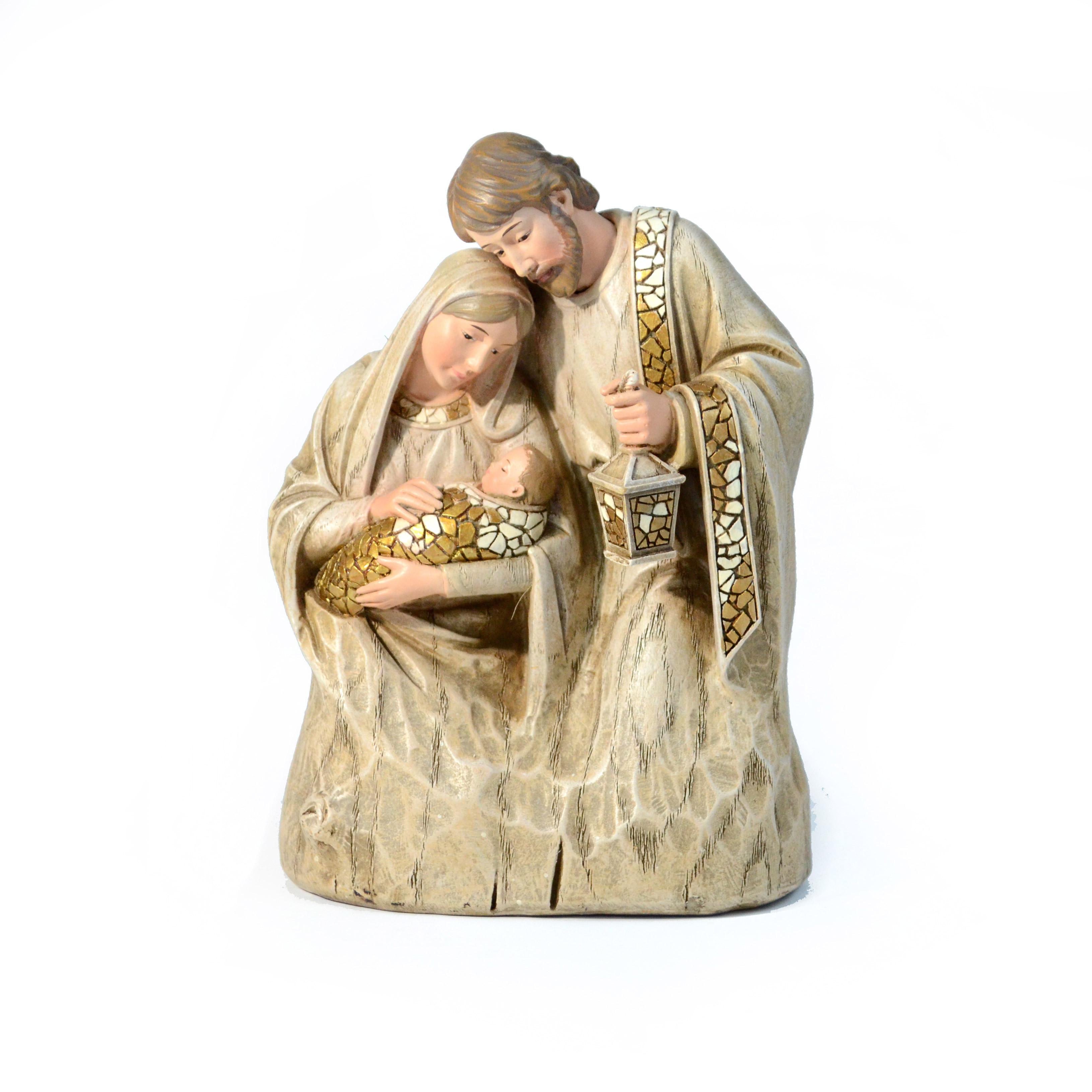 Christmas Holy Family Wood Mosaic Statue
