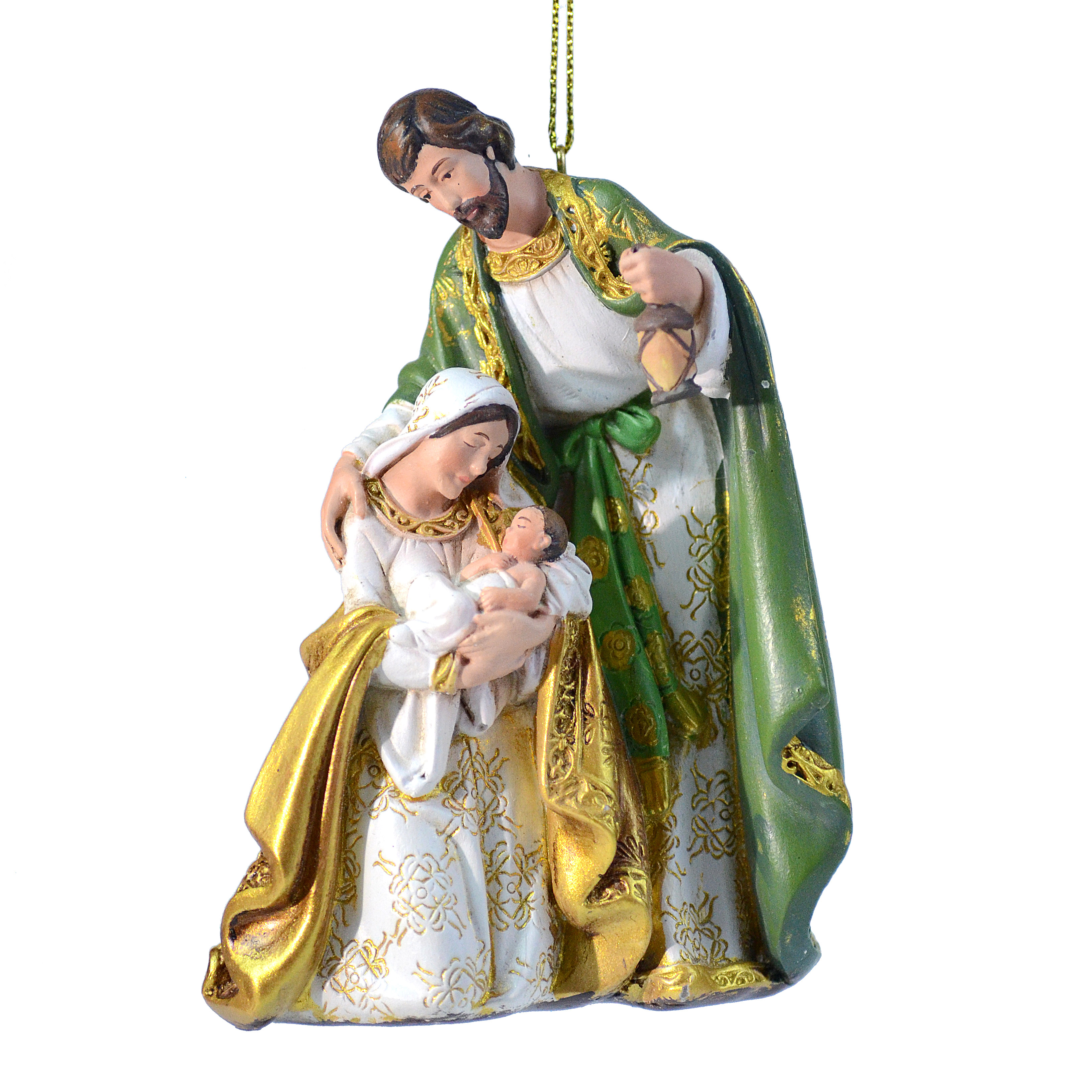 Holy Family Gold & Olive Nativity Ornament Small