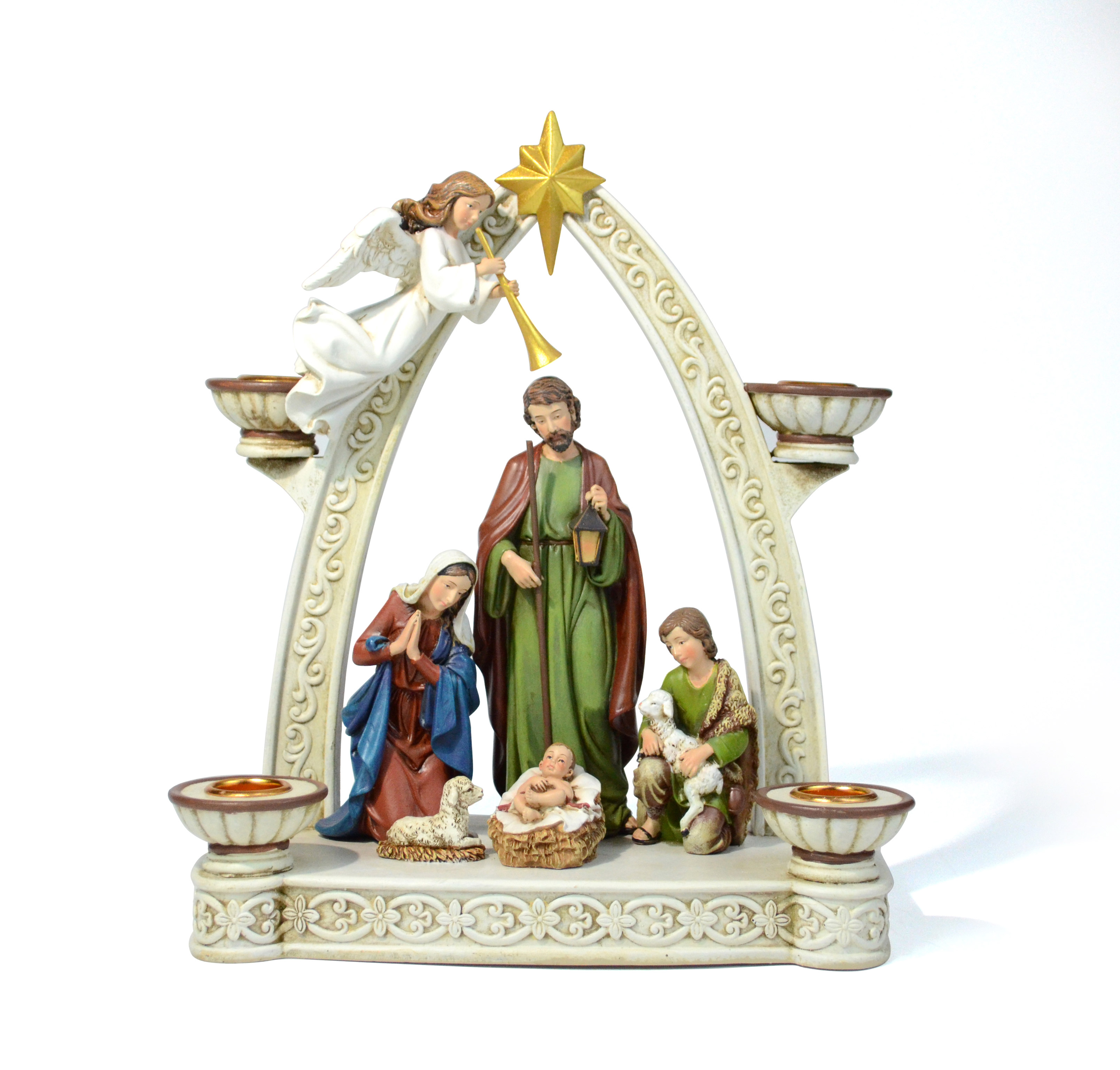 Advent Arch Candle Holder with Holy Family and Angel