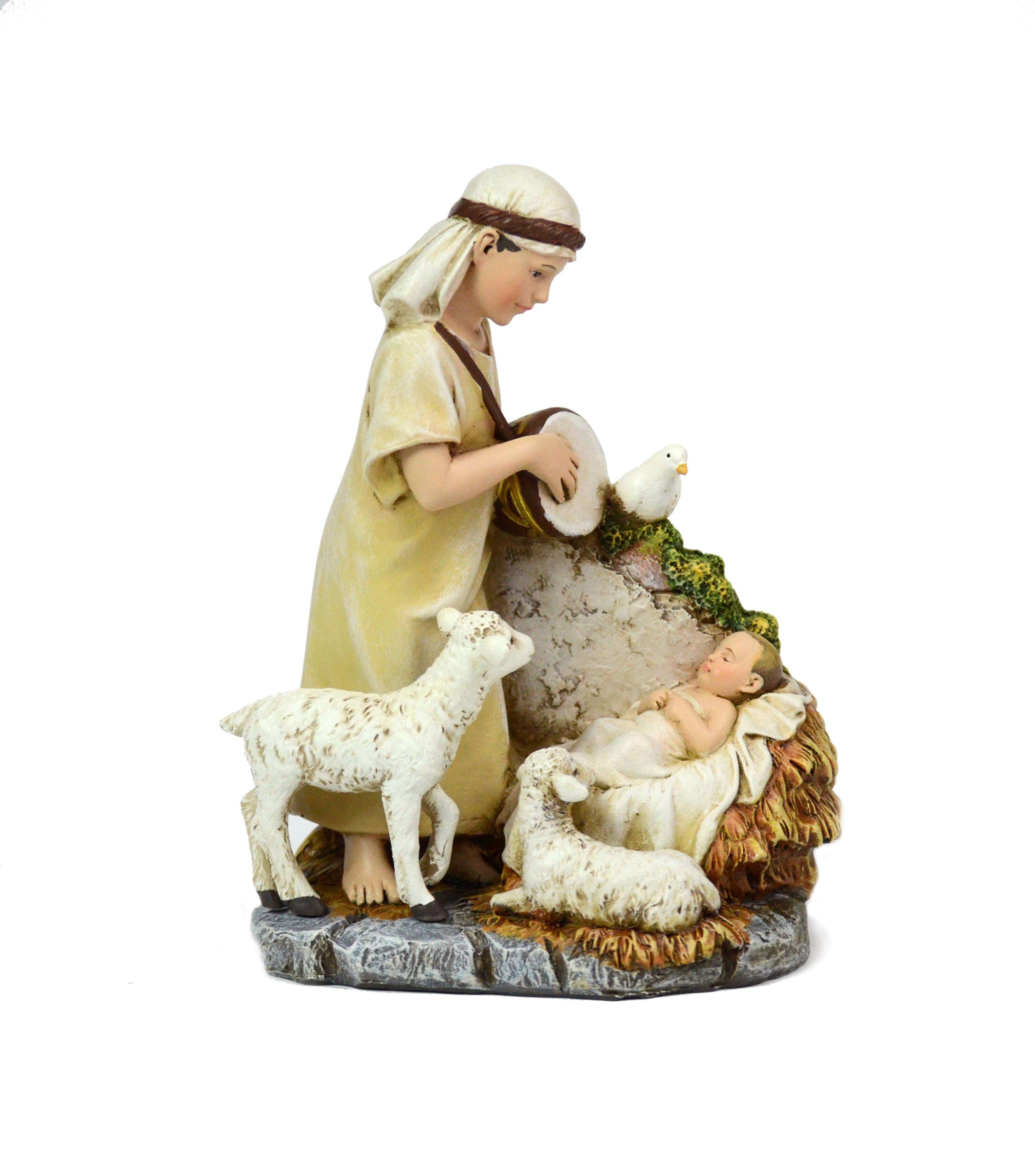 Little Shepherd Drummer Boy with Baby Jesus Statue