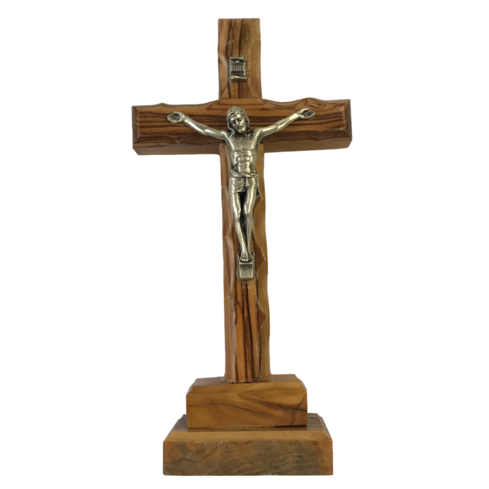 Olive wood Crucifix with stand