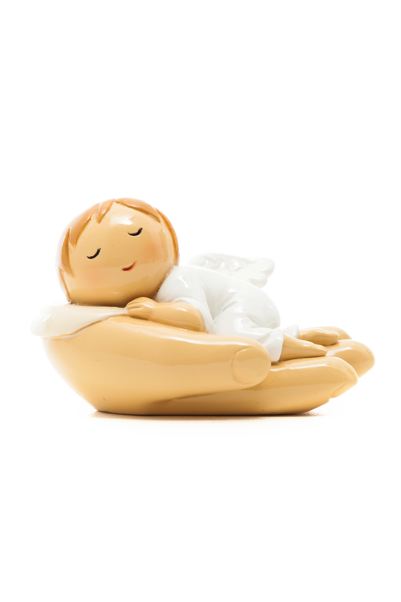 Baby Angel Sleeping on Hand of God Statue (Little Drops)