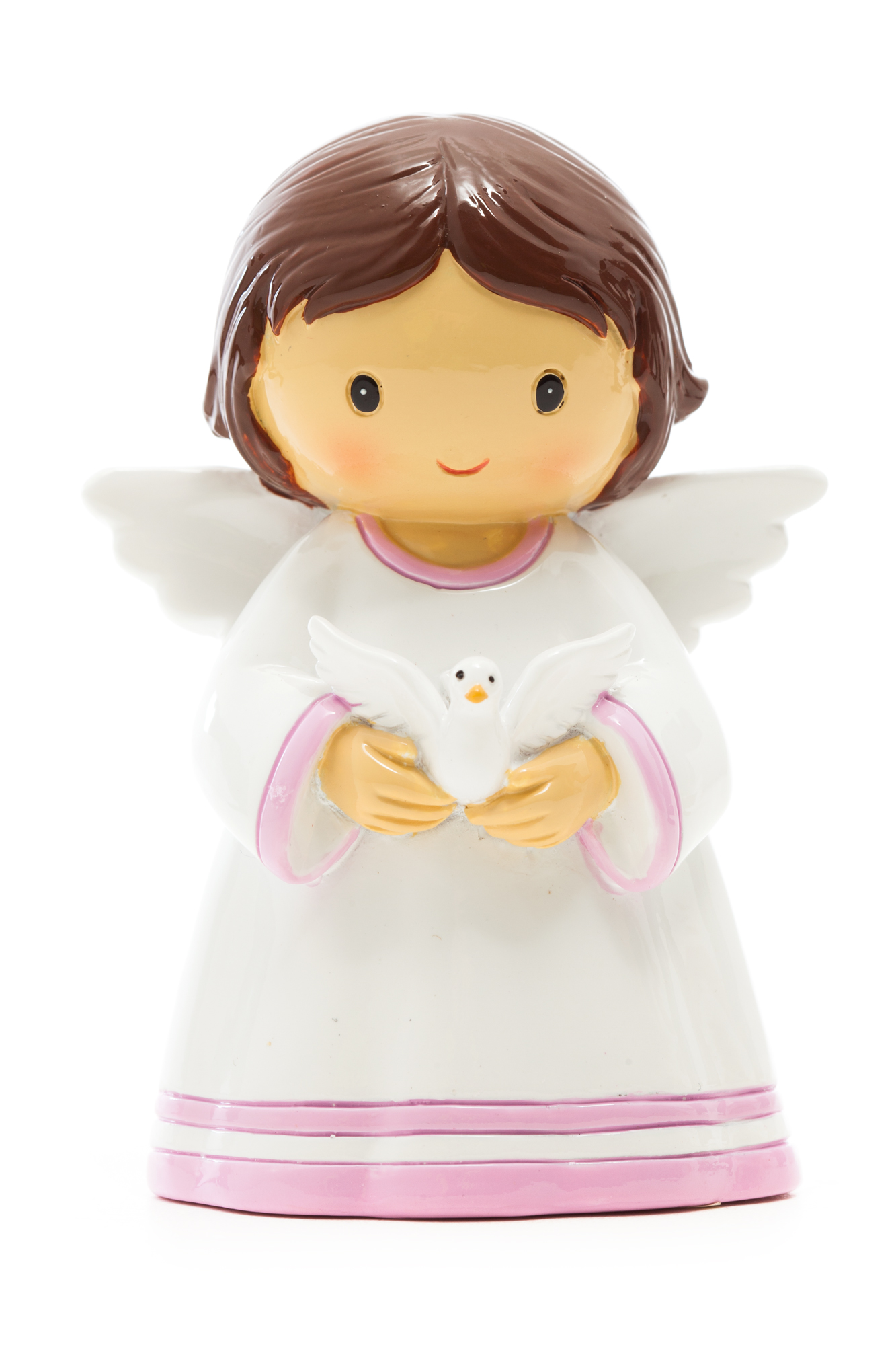 Baby Angel Girl Brunette with Dove Statue (Little Drops)