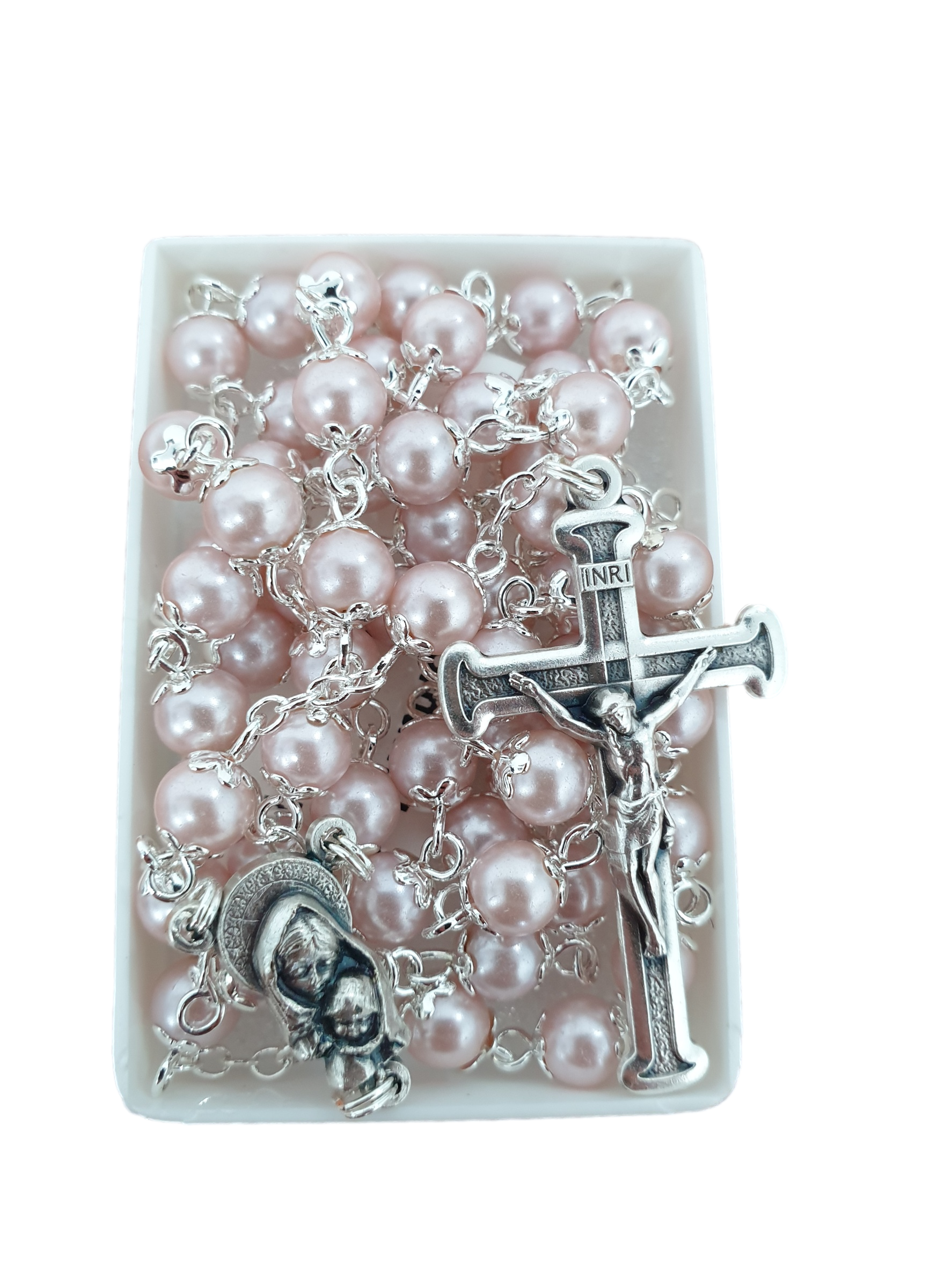 Roman Inc Rosary Beads - Pearl Pink