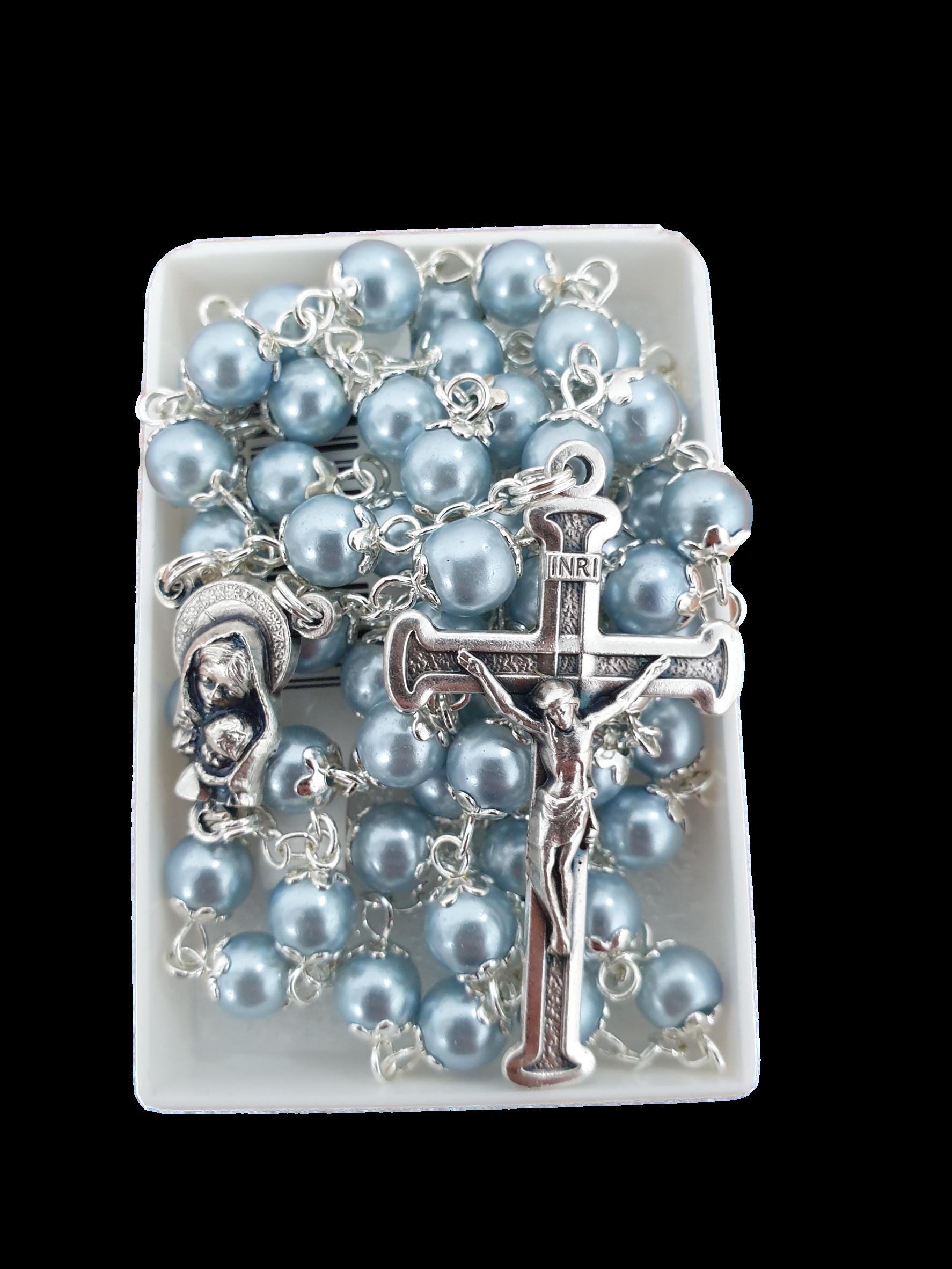 Roman Inc Rosary Beads - Pearl Blue