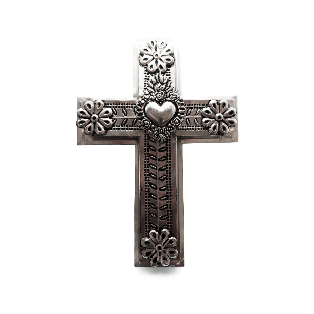 Mexican Handicrafts Large Tin Heart Cross