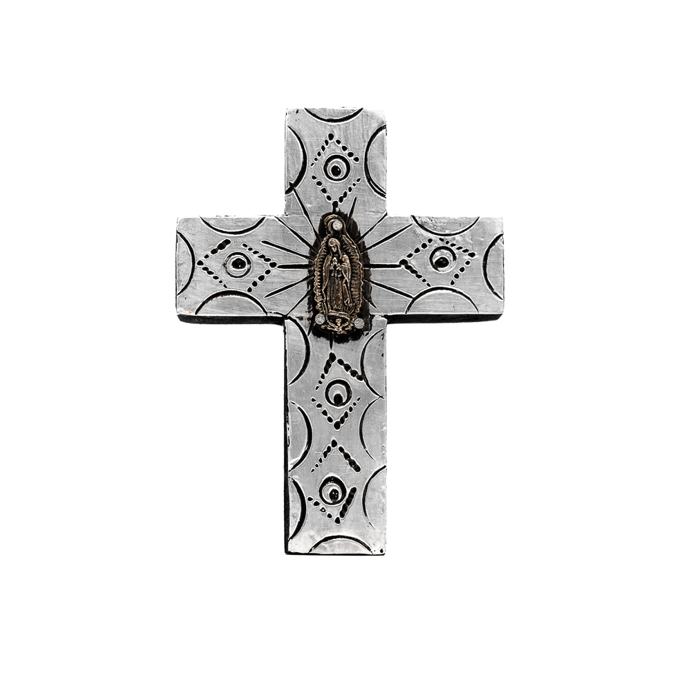 Mini Wooden & Silver Milagros Cross